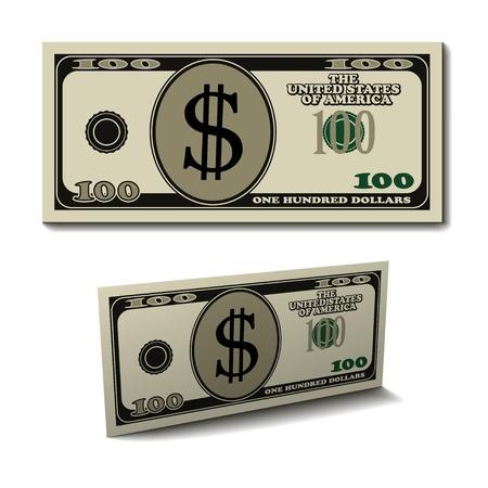 letra de cambio: vector de cien d�lares de papel banknote