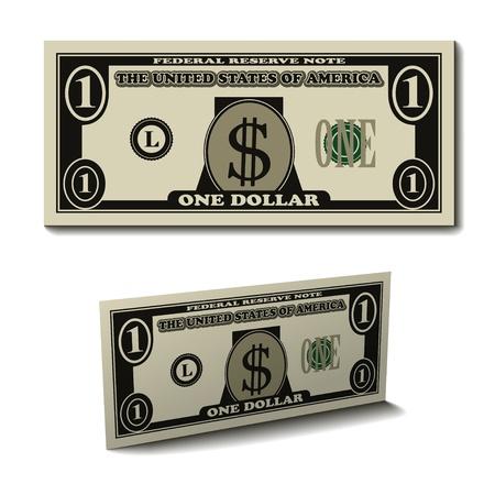 1 ドル紙法案紙幣をベクトルします。  イラスト・ベクター素材