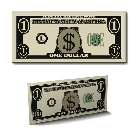 one: vector one dollar paper bill banknote