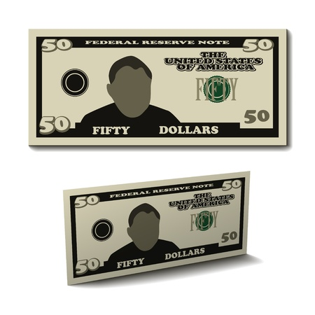 fifty: vector fifty dollar paper bill banknote
