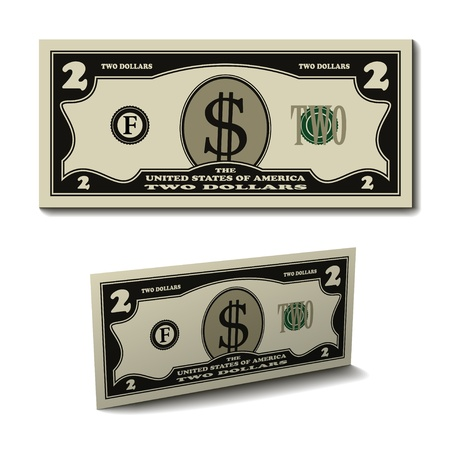 two dollar bill: vector two dollar paper bill banknote