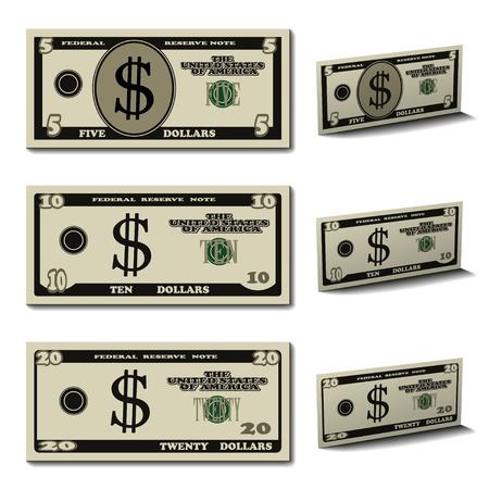 벡터 5 ~ 10 20 달러 지폐 일러스트