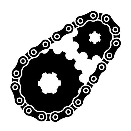 sprocket: vector industrial chain sprocket silhouette Illustration