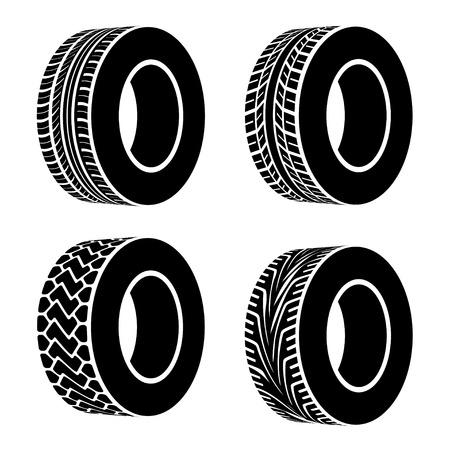 motricit�: vecteur symboles pneu noir Illustration