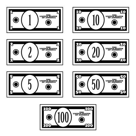 架空の黒白いドル紙幣をベクトルします。