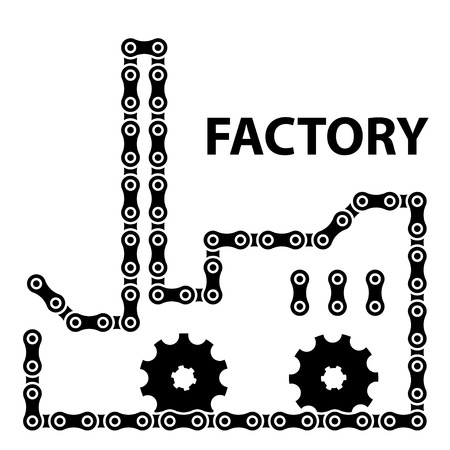 sprocket: fabbrica industria vettore corona catena silhouette