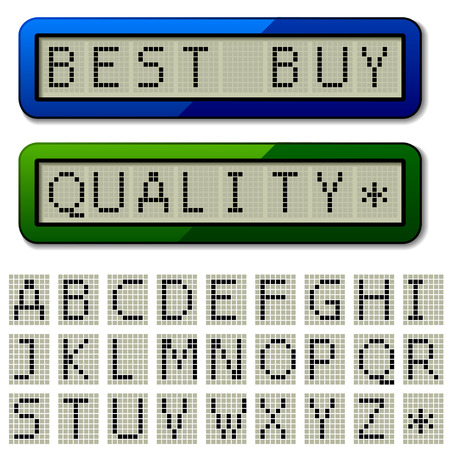 vector LCD display pixel font - uppercase characters Vector