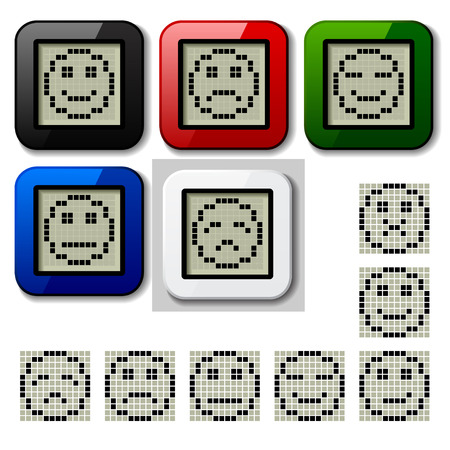 vector LCD display pixel smiley faces Stock Vector - 22208561