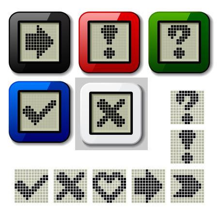 vector LCD display pixel symbols Vector