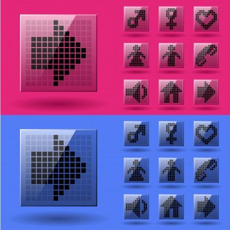 vector LCD display pixel symbols Stock Vector - 22208569