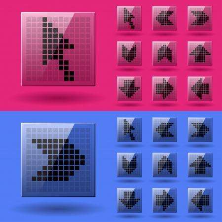 lcd display: vector LCD display pixel arrows