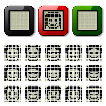 vector LCD display pixel faces Stock Vector - 22208572