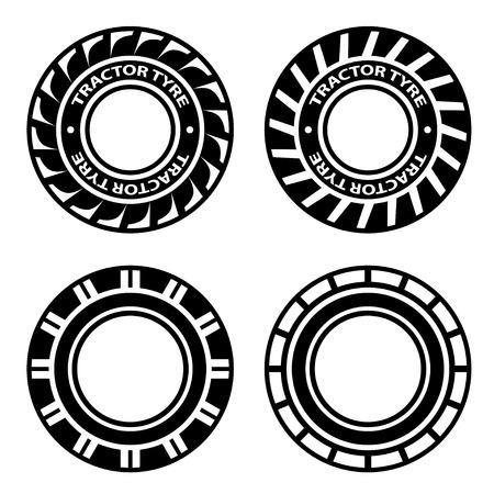 vector tyre: vector black tractor tyre symbols