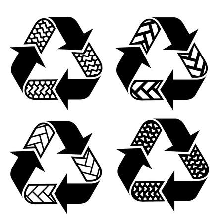vector trace tyre recycle symbols Vector