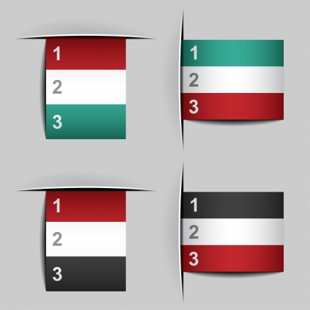 insert: vector blank attached paper fictional flags Illustration