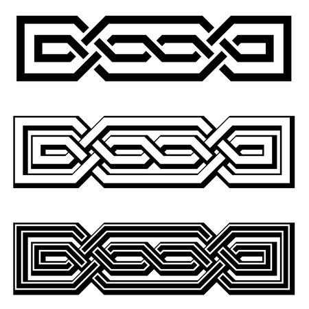 vektor: Vektor 3D endlosen keltischen Knoten schwarz weiß Illustration