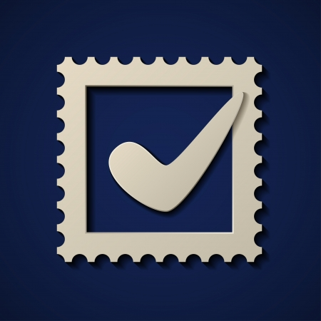 sign ok:  paper positive checkmark postage stamp