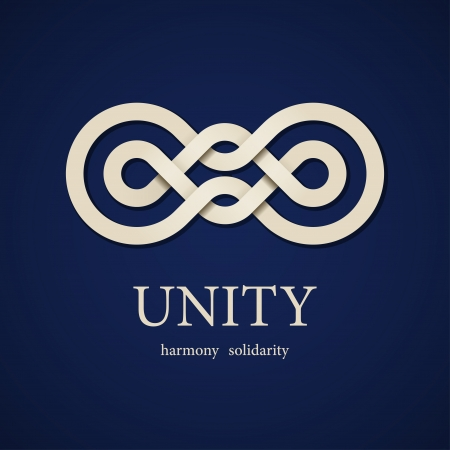 and harmony: vector unity paper knot design template Illustration
