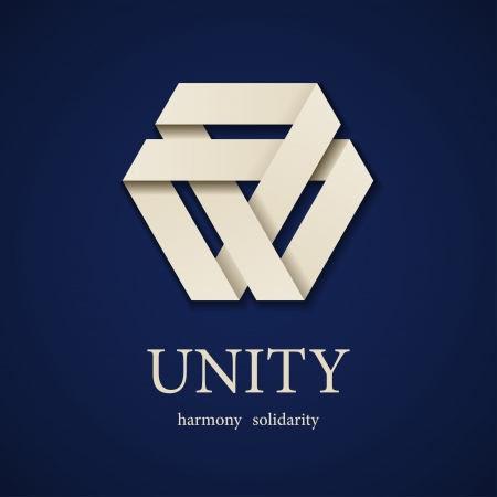 vector unity paper triangle icon design template Vectores