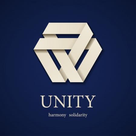 vector unity paper triangle icon design template Иллюстрация