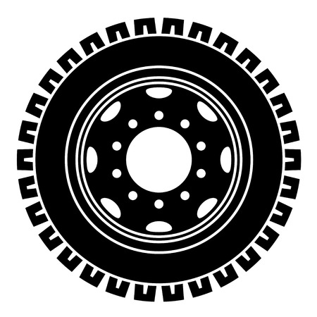 vector truck wheel black white symbol Vector