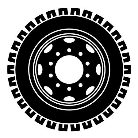 rim: vector truck wheel black white symbol