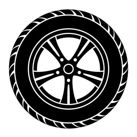 벡터 자동차 휠 검정, 흰색 기호