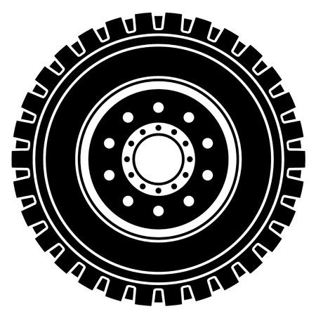 fekete-fehér: vector truck kerék, fekete-fehér szimbólum