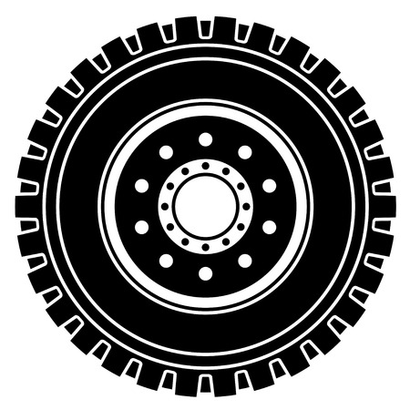 vector truck wheel black white symbol