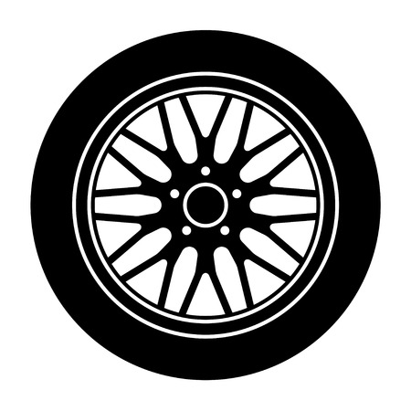 vector car aluminum wheel black white symbol Vector