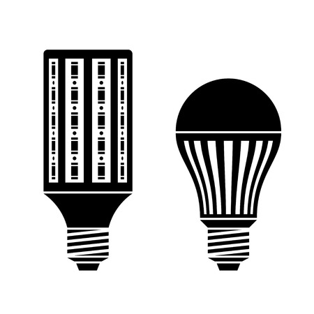 vector LED energy saving lamp bulb symbols Çizim