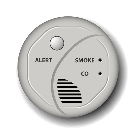 carbon monoxide: vector fire smoke carbon monoxide detector alarm