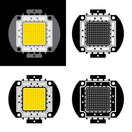 light emitting diode: vector power LED energy saving chip symbols Illustration