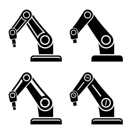 vector robotic arm black symbol Vector