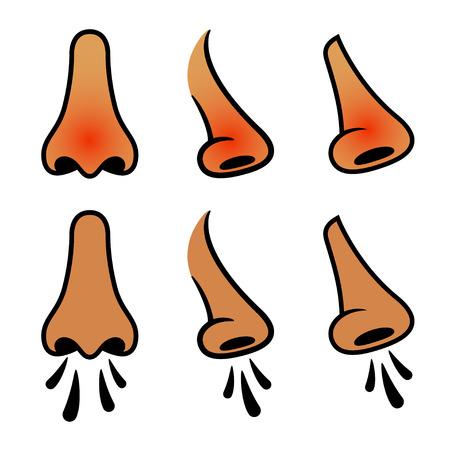 skin infections: vector nariz humana estornudo iconos fr�o Vectores