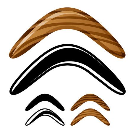 primitive tools: vector wooden australian boomerang icons