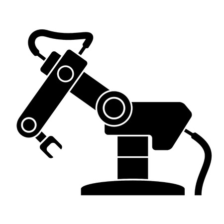 robot: vector brazo robótico símbolo negro Vectores