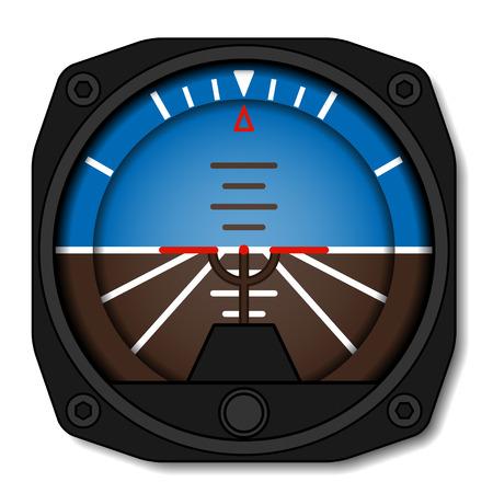 vector aviation airplane attitude indicator - artificial gyroscope horizon Illustration