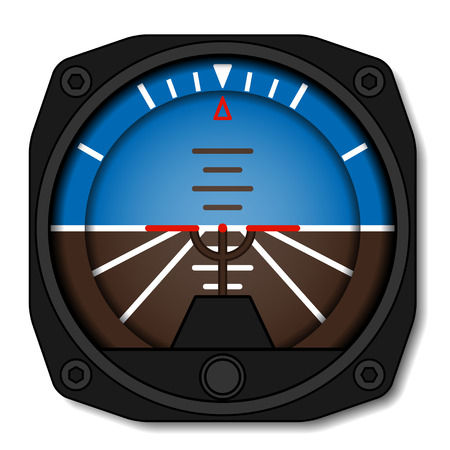 vector aviation airplane attitude indicator - artificial gyroscope horizon Çizim