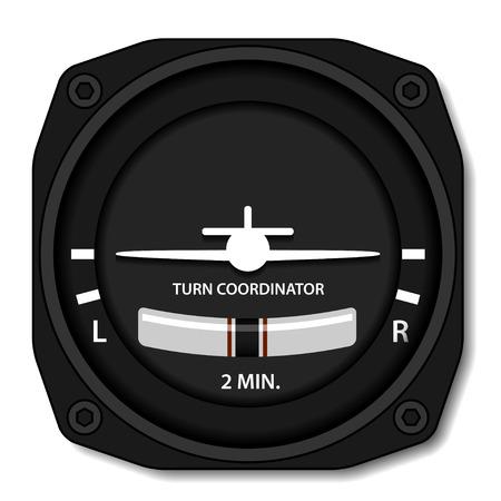 navigation panel: vector aviation airplane turn balance indicator Illustration