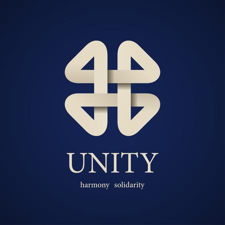 vector unity paper quarterfoil icon design template