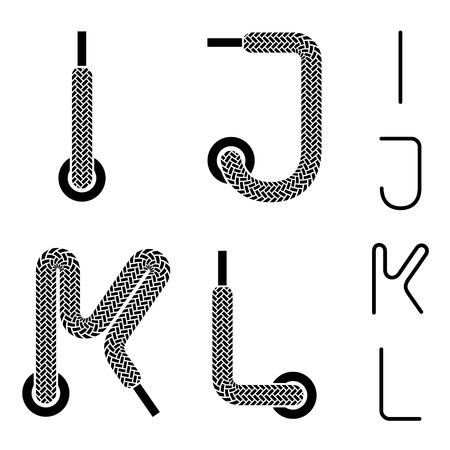 shoe lace alphabet letters I J K L Vector