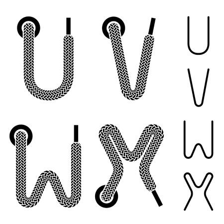 shoe lace alphabet letters U V W X Vector