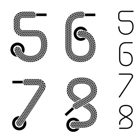 shoe lace numbers 5 6 7 8 Vector
