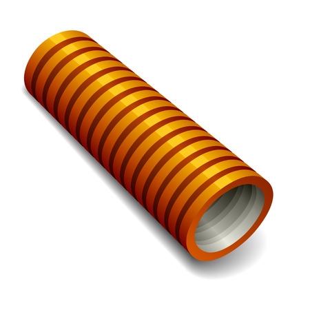 water sanitation: orange plumbing corrugated tube Illustration