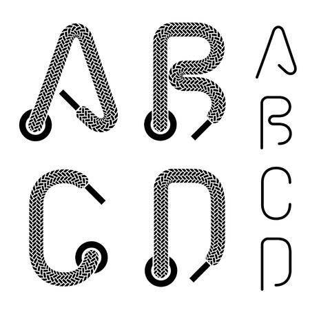 shoe lace alphabet letters A B C D Illustration