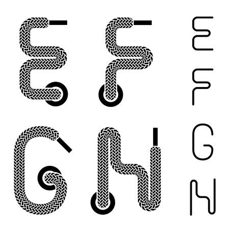 g string: shoe lace alphabet letters E F G H