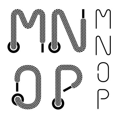 shoelace: shoe lace alphabet letters M N O P Illustration