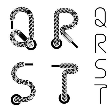구두 레이스 알파벳 글자 QRST