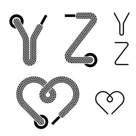 shoe lace alphabet letters Y Z heart Vector